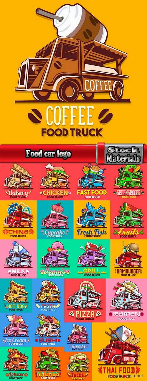 Food car logo signboard cafe restaurant menu 24 EPS