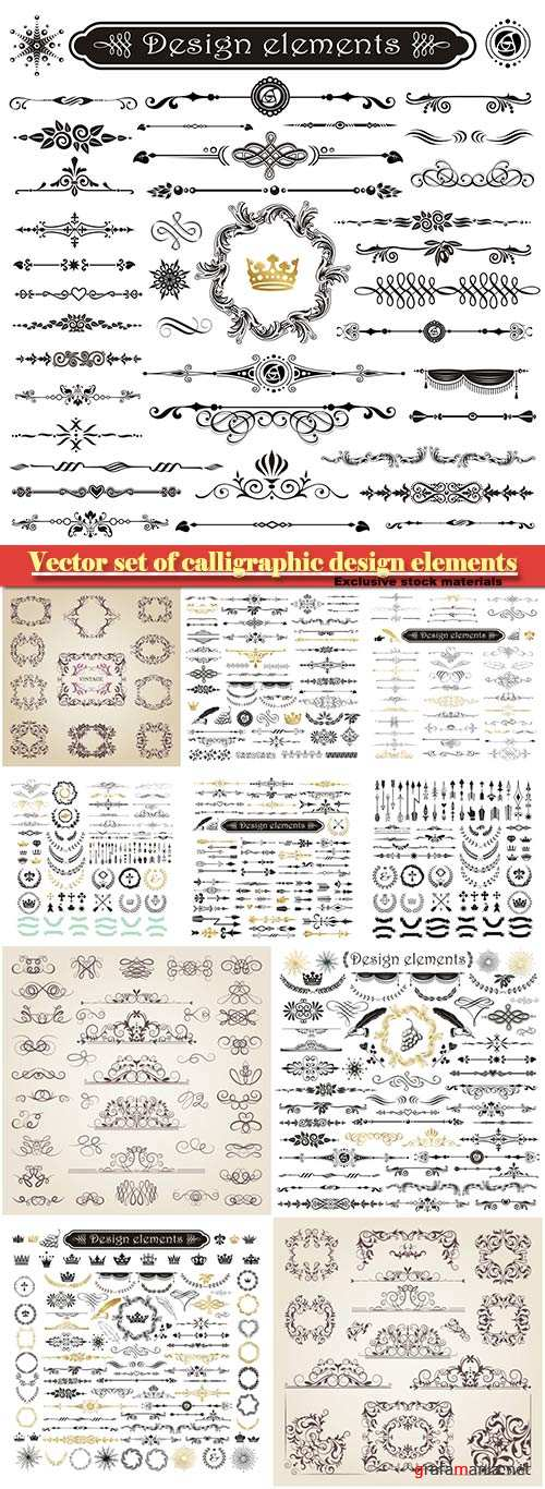 Vector set of calligraphic design elements and page decor
