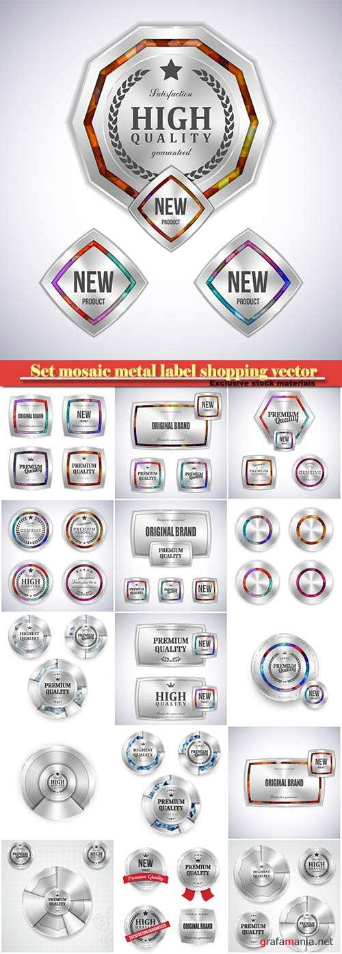 Set mosaic metal label shopping vector