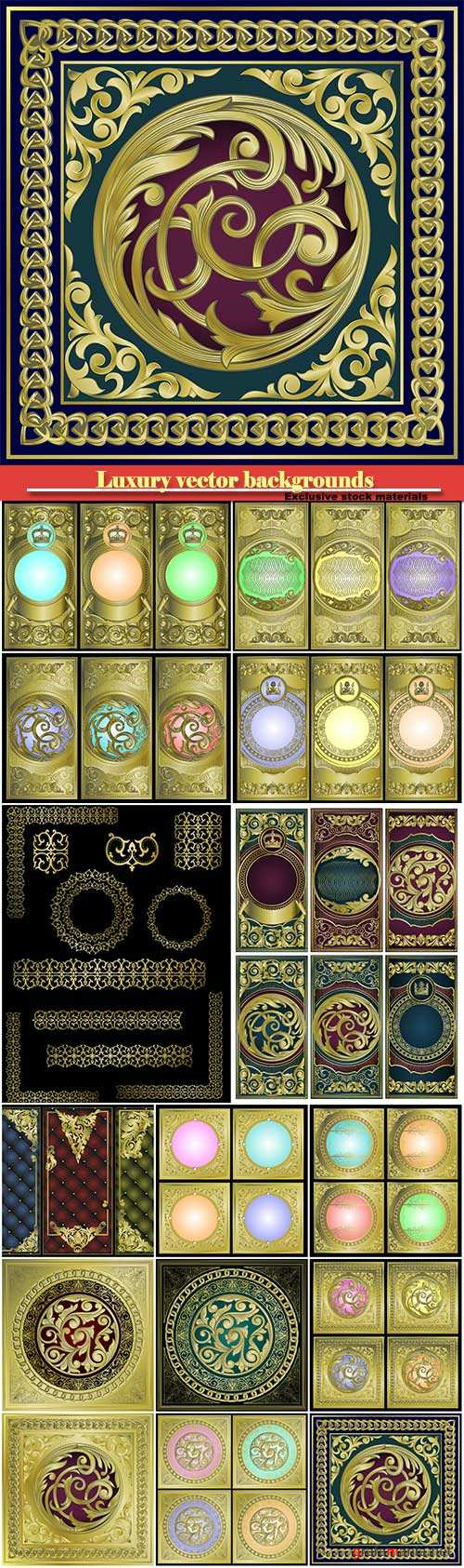 Luxury vector backgrounds and banners with gold decor