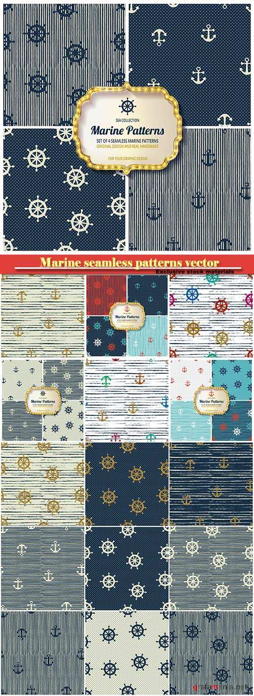 Marine seamless patterns vector