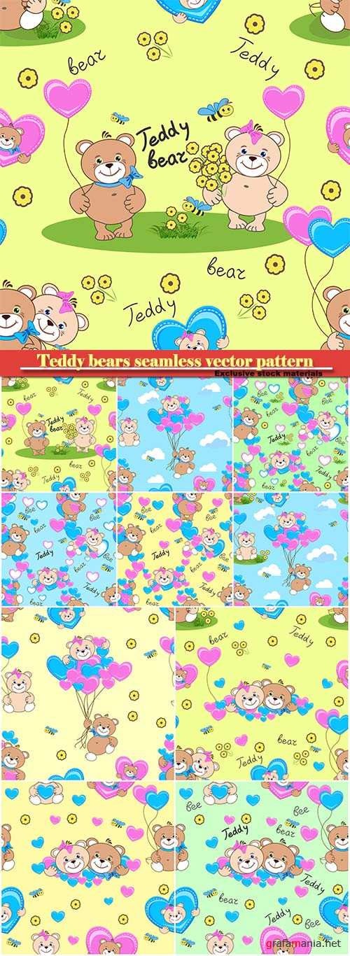 Teddy bears seamless vector pattern