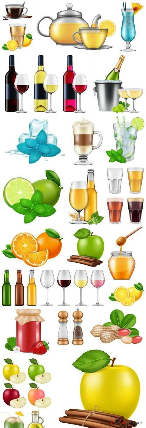 Different Fod And Drink Collection - 25 Vector