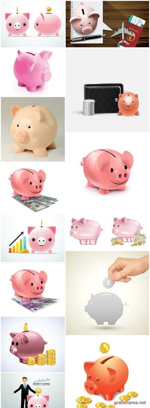 Piggy Bank - 15 Vector