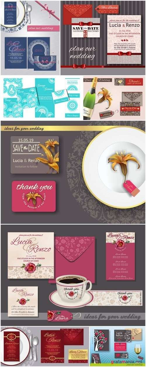 Set Of Weddings Invitation Card #7 - 10 Vector