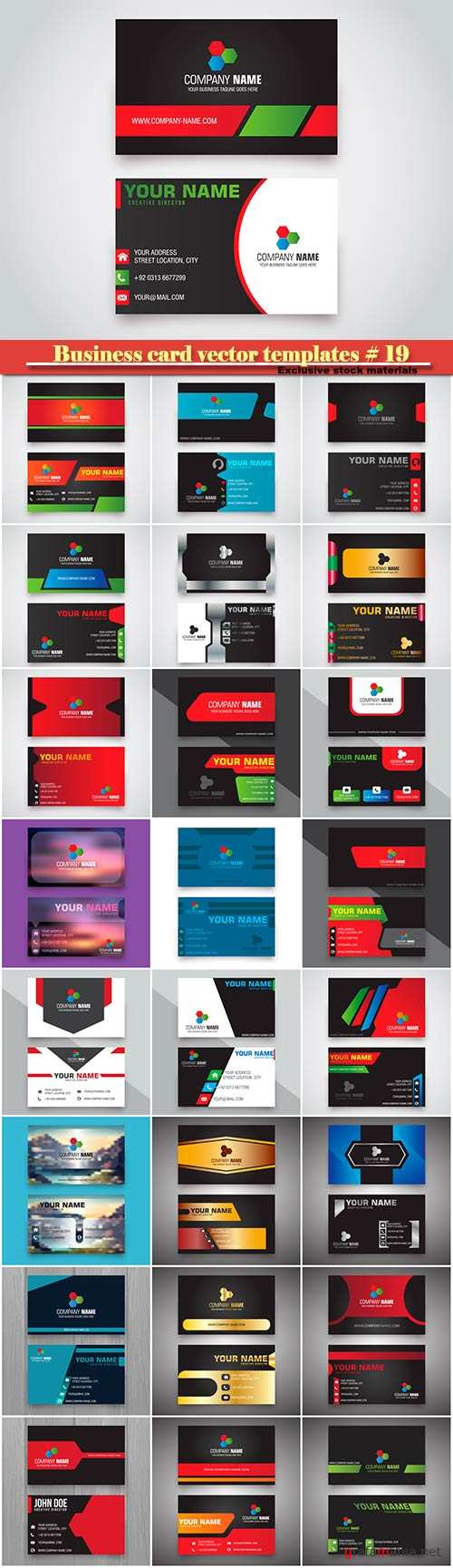 Business card vector templates # 19