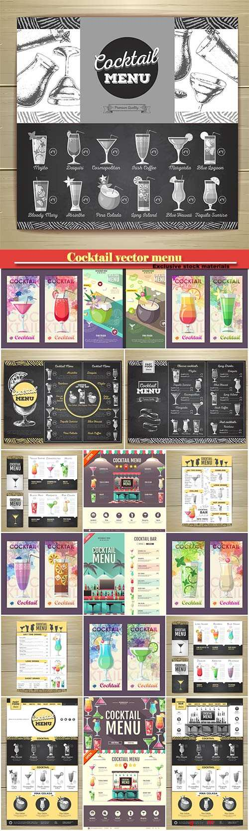 Cocktail vector menu, flat cocktail design on decorative watercolor background