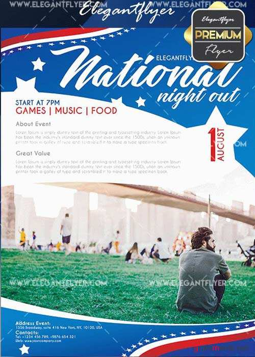 National Night Out V6 Flyer PSD Template + Facebook Cover