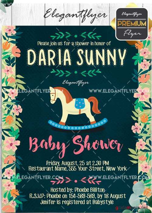 Baby Shower Flyer PSD V9 Template + Facebook Cover