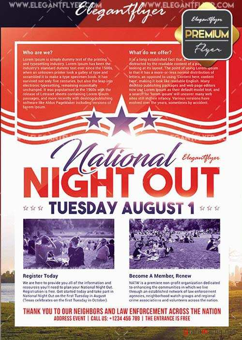 National Night Out V2 Flyer PSD Template + Facebook Cover