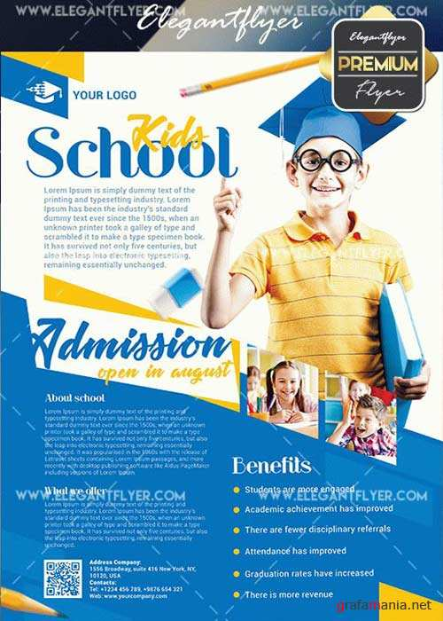 Kids School V27 Flyer PSD Template + Facebook Cover
