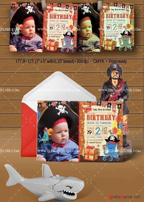 Birthday Party Pirate V7 Invitation PSD Template