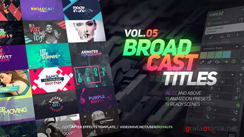 TypeX - Text Animation Tool | VOL.05: Broadcast Titles Pack - Project for After Effects & Script (Videohive)