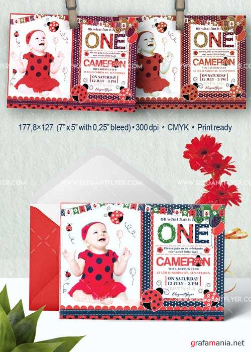 Birthday Party Ladybug V2 Invitation PSD Template