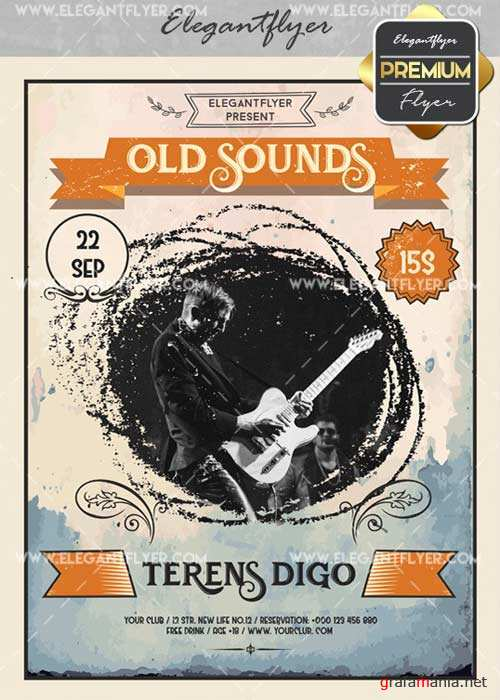 Old Sounds V1 Flyer PSD Template + Facebook Cover