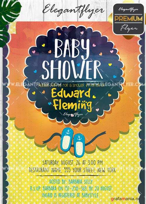Baby Shower V10 Flyer PSD Template + Facebook Cover