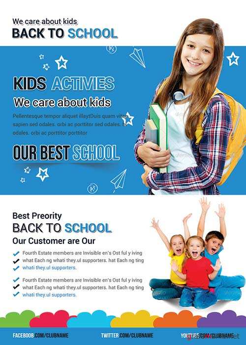 Back to School V42 Flyer PSD Template + Facebook Cover