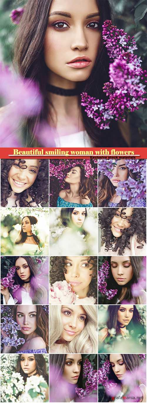 Beautiful smiling woman with flowers