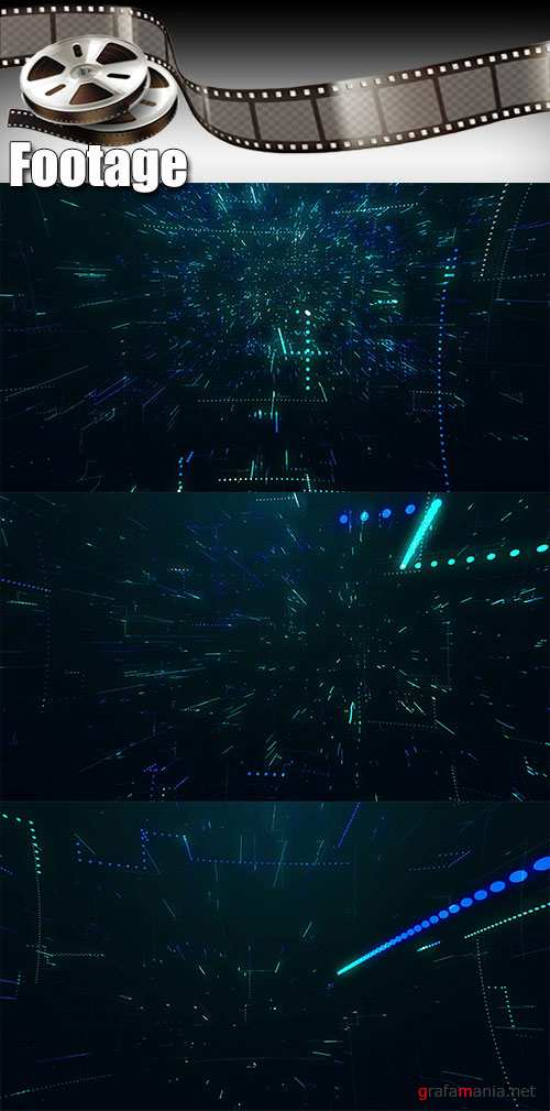 Video footage The flight of the camera into a technology structure with lines of chaos 3d animation