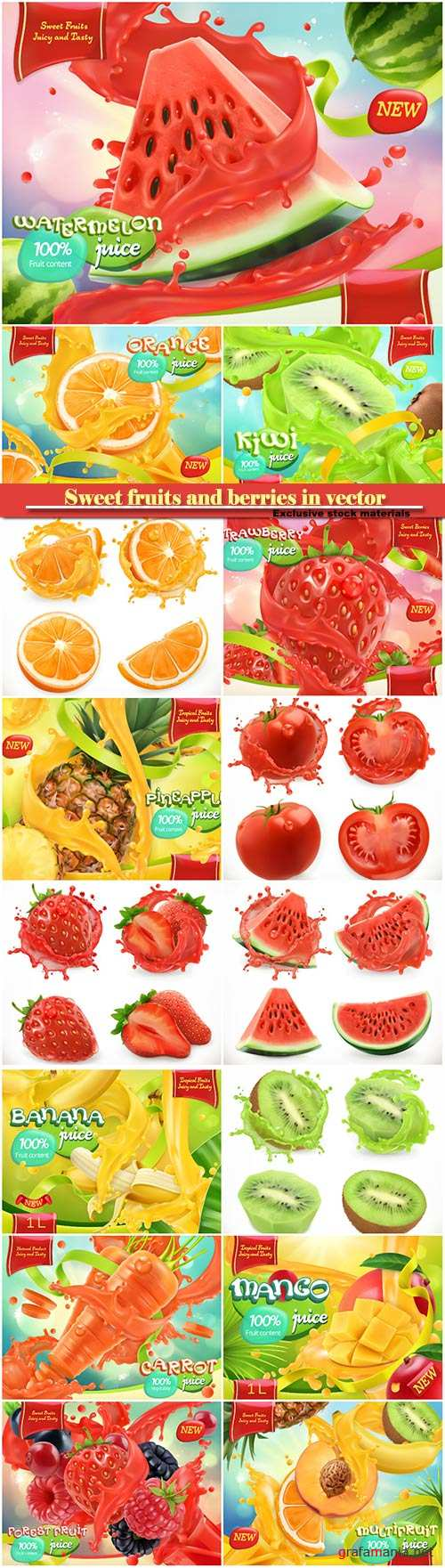 Sweet fruits and berries in vector 3d realistic vector, package design