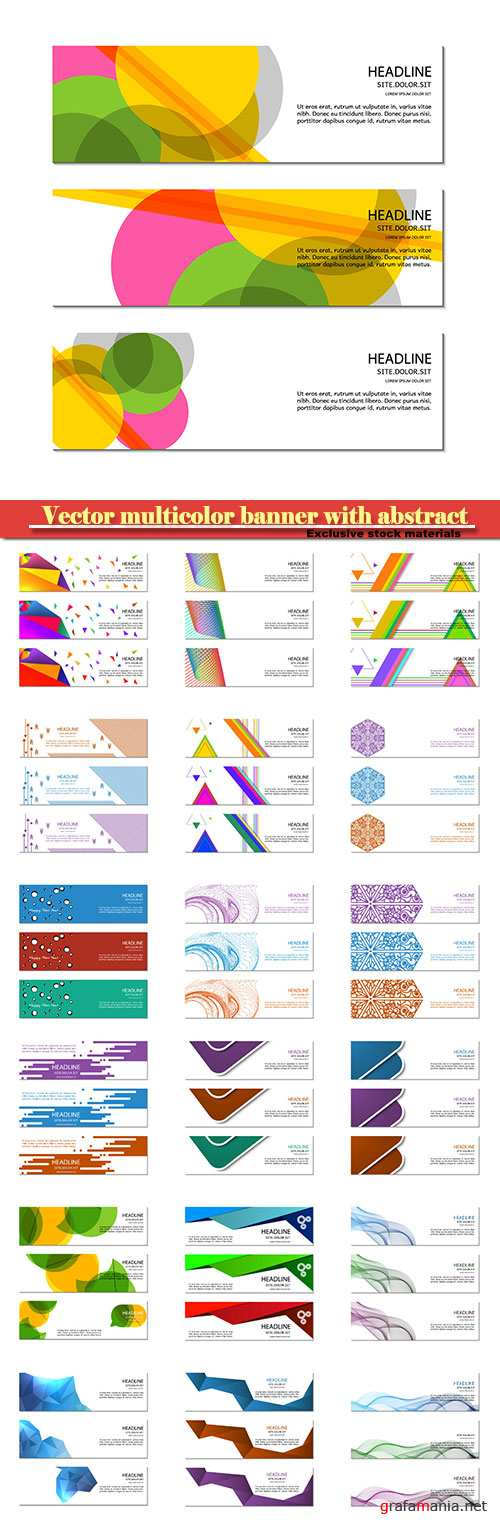Vector multicolor banner with abstract
