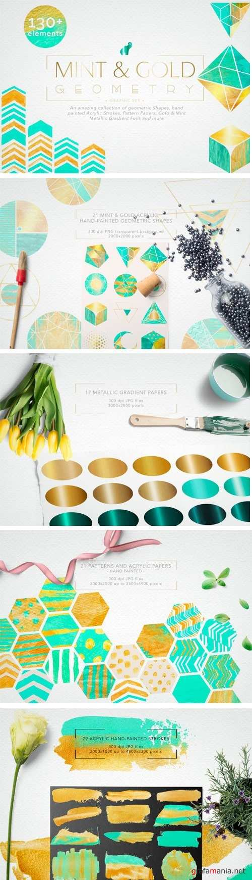 Mint & Gold Geometry Collection 1709777