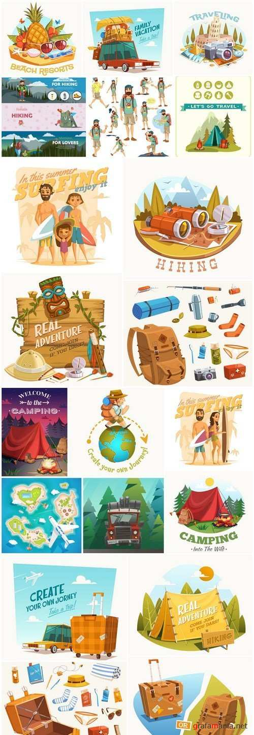 Travel Camping Design Elements - 20 Vector