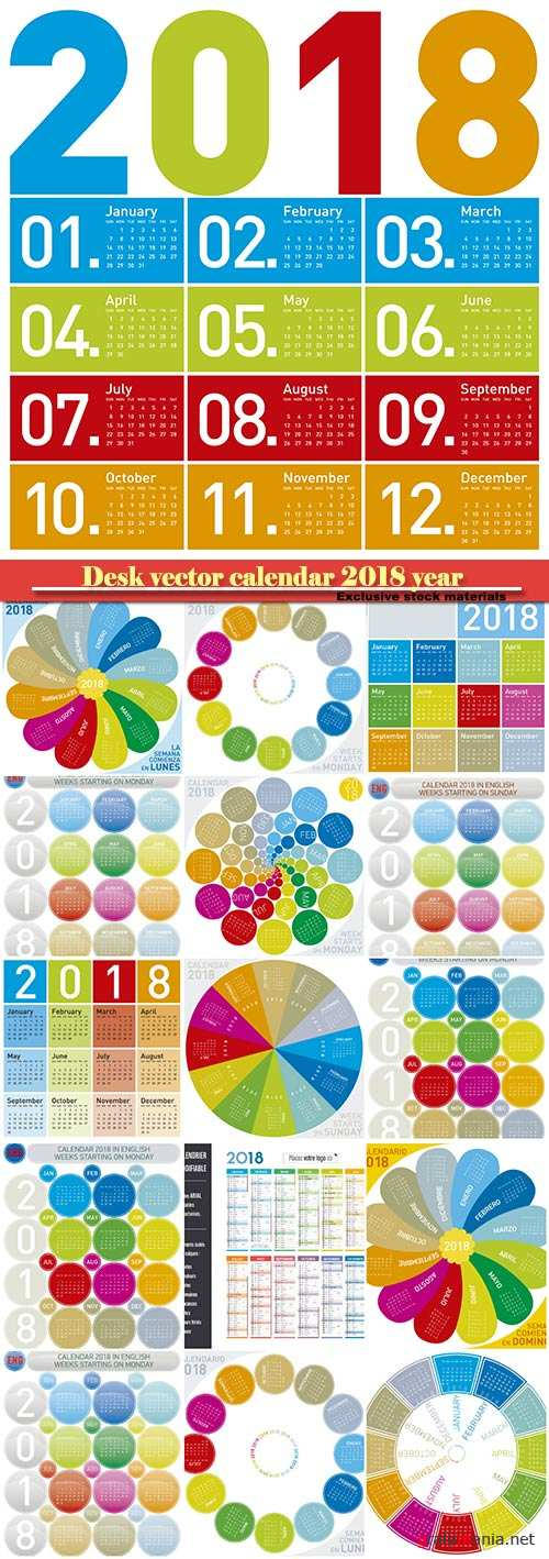 Desk vector calendar design templatefor 2018 year # 5