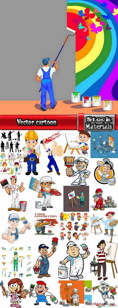 Vector cartoon house painter picura paint brush to draw 25 Eps