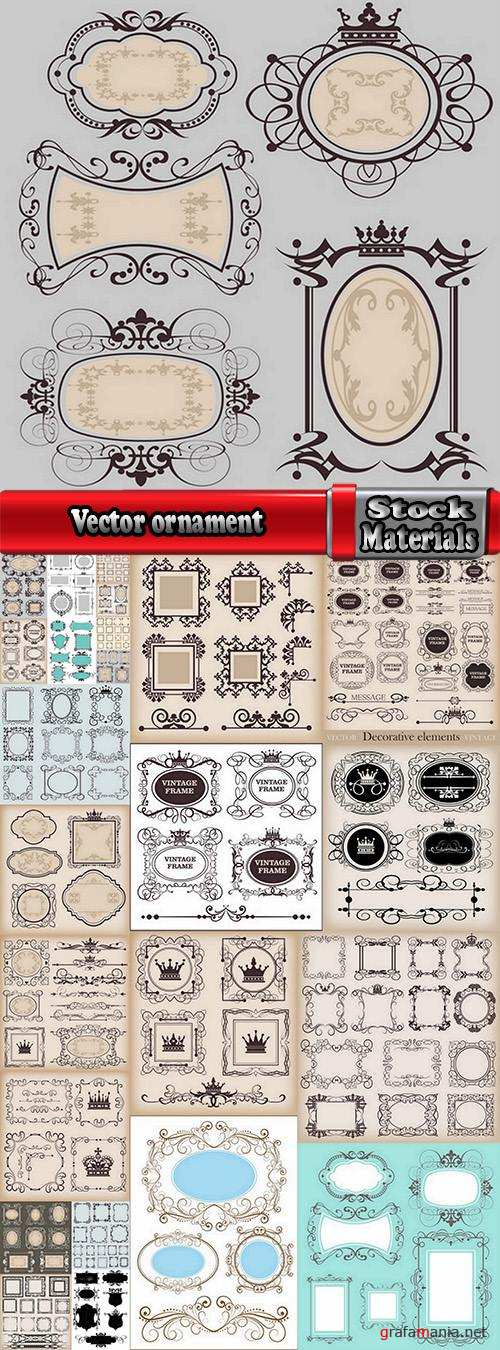 Vector ornament calligraphic design elements picture fame 25 Eps