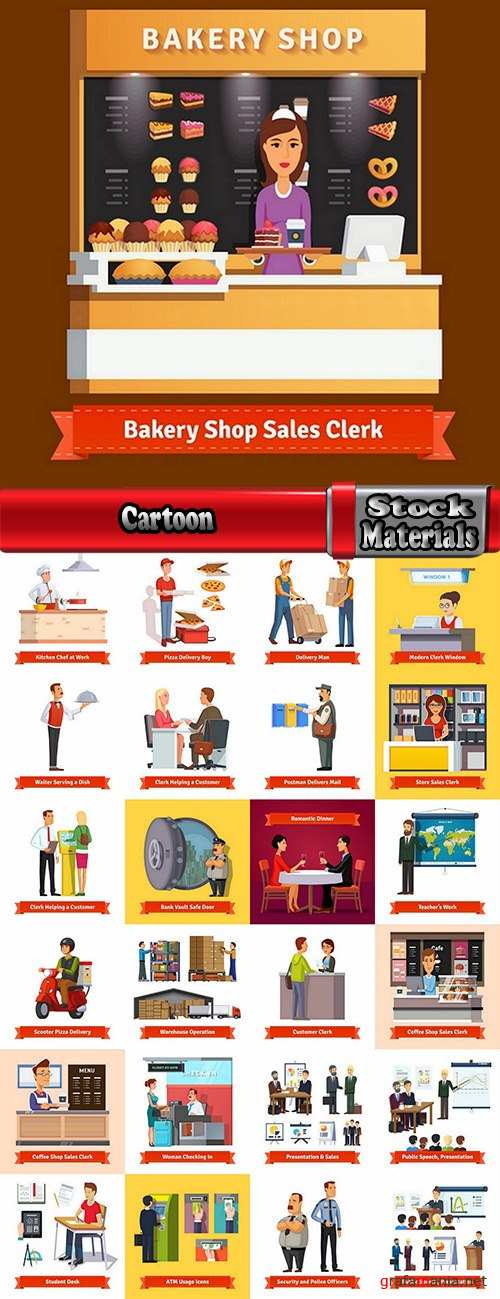 Cartoon image of different professions infographics businessman 2-25 Eps