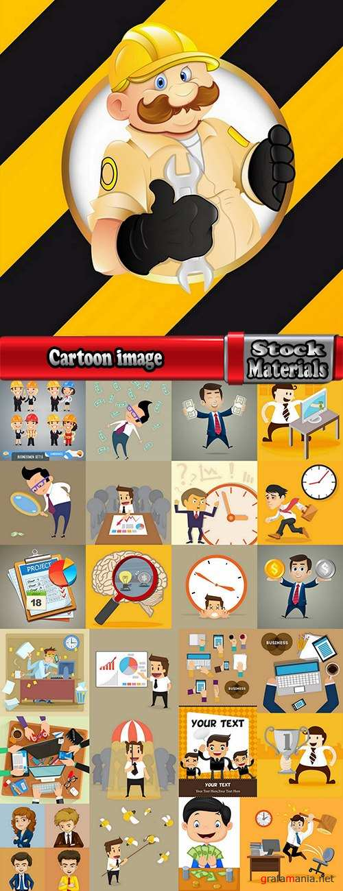 Cartoon image of different professions infographics businessman 25 Eps