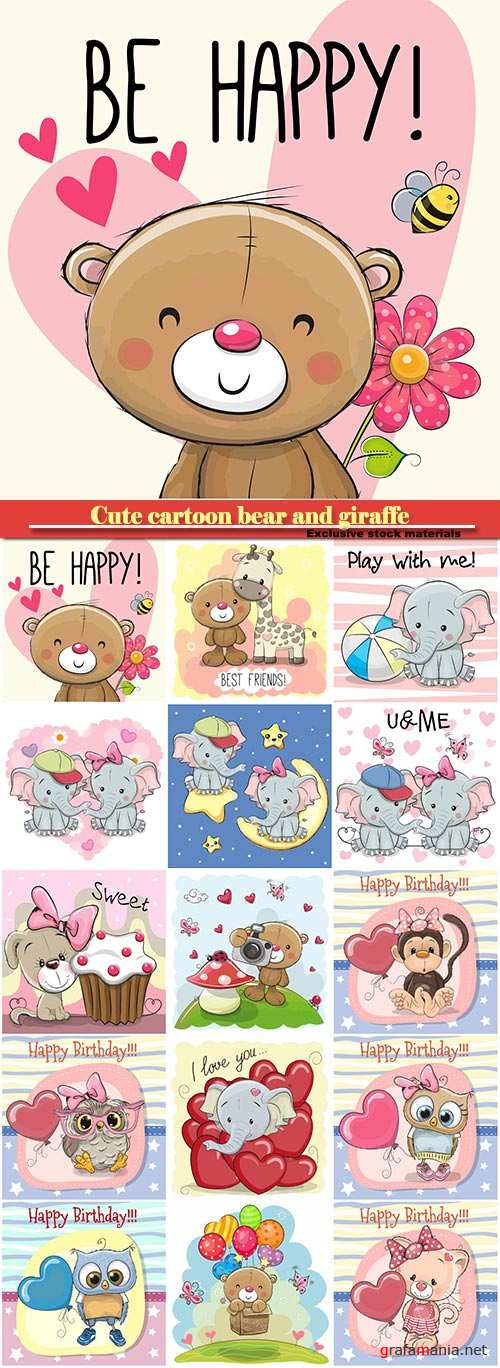 Cute cartoon bear and giraffe, owl and monkey with balloon