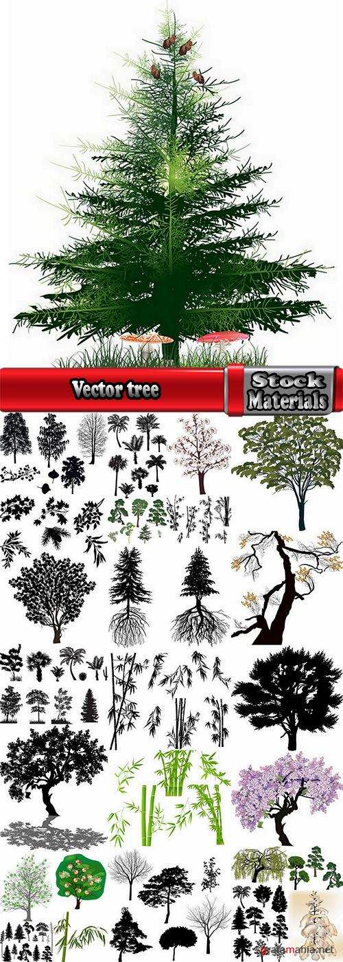 Vector image tree roots silhouette egg bamboo 25 eps