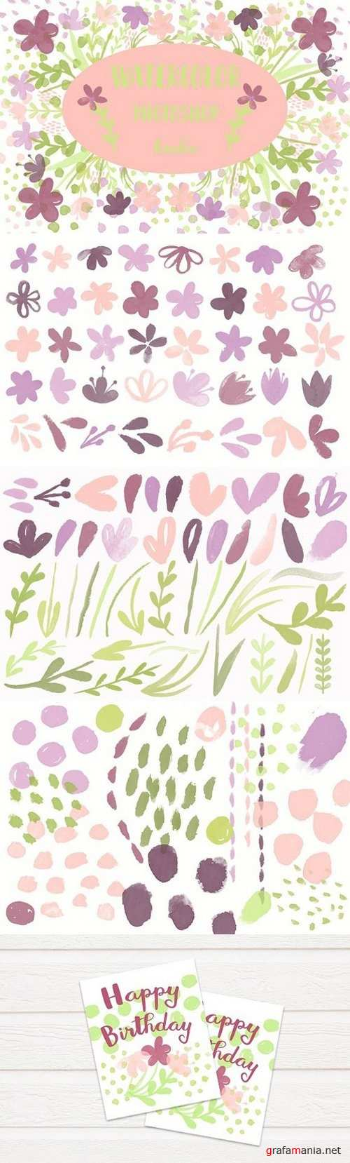 100 Watercolor Photoshop Brushes 1729738