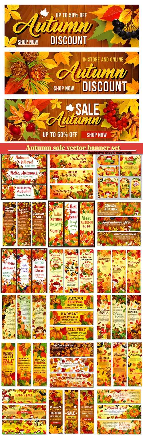 Autumn sale vector banner set of fall season discount price offer