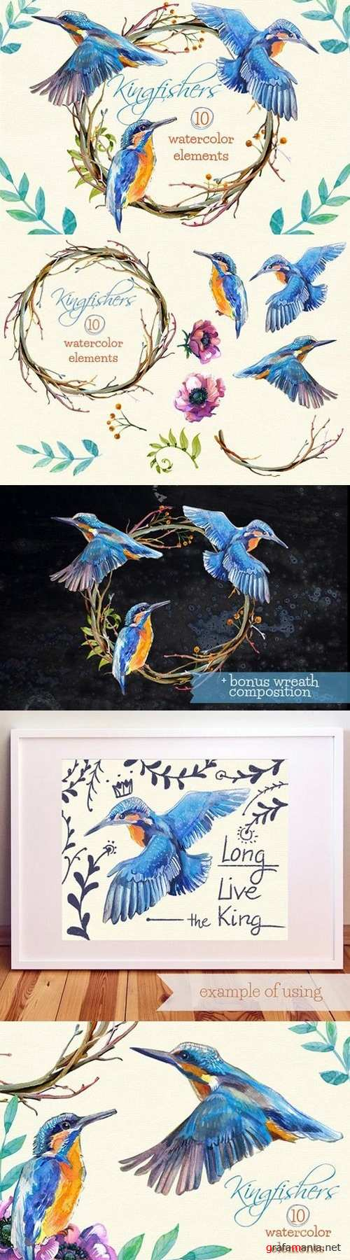 Kingfishers Watercolor Clip Arts -10 1635309
