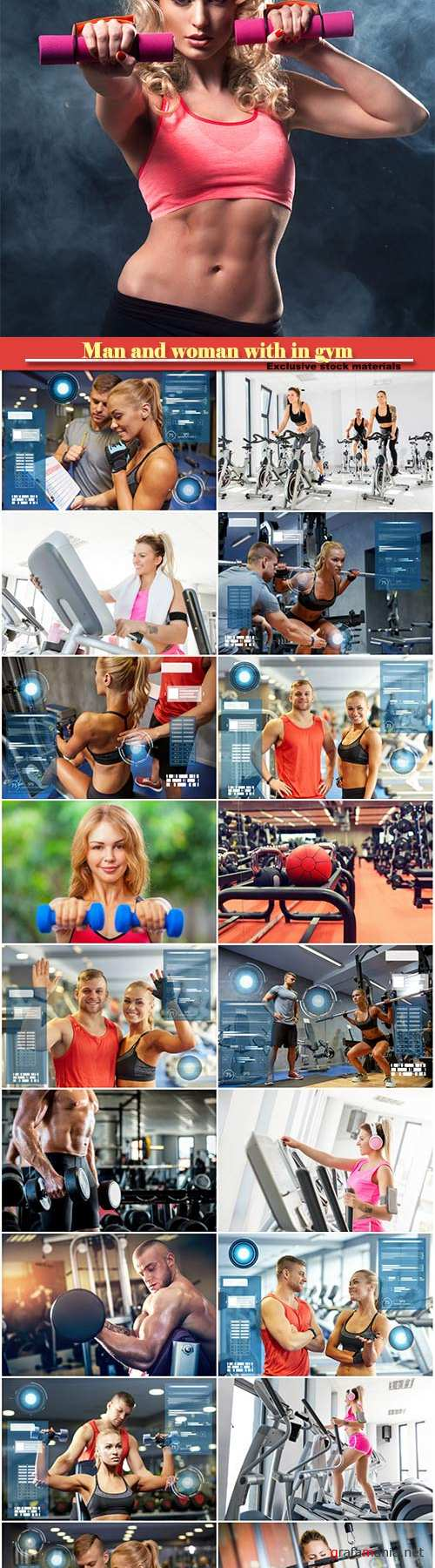 Sport activities, man and woman with in gym