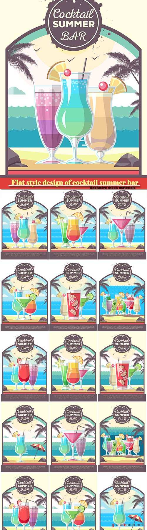 Flat style design of cocktail summer bar, cocktail vector menu