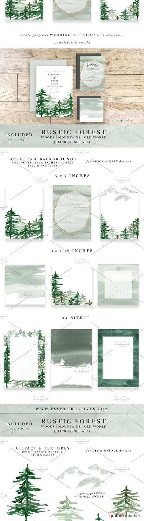 Rustic Forest Watercolor Backgrounds 1694418