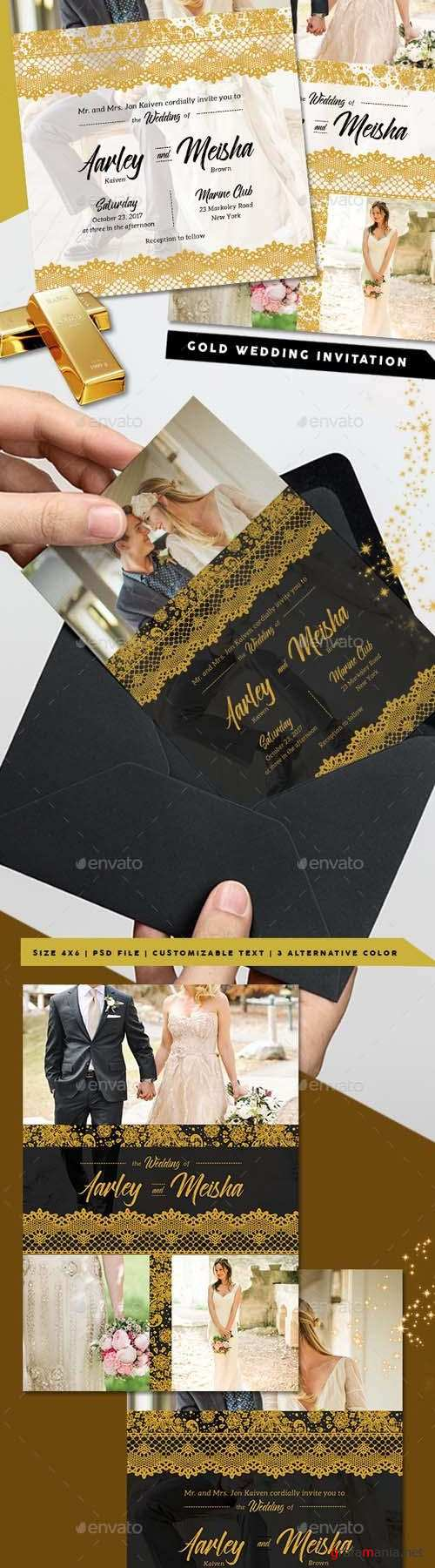 Lace Gold Wedding Invitation 20400023