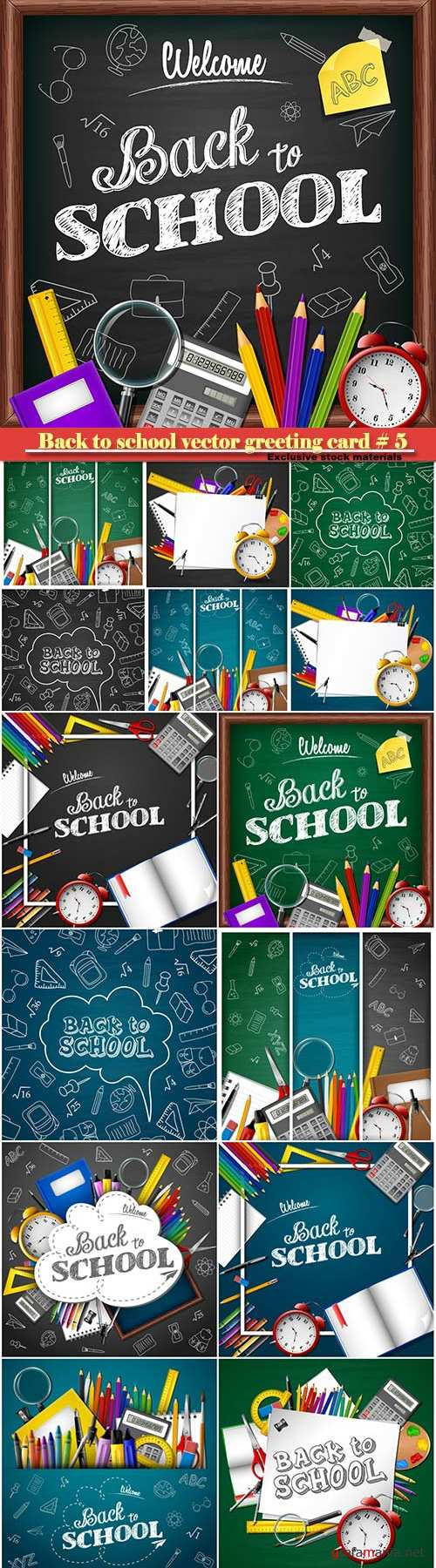 Back to school vector greeting card # 5