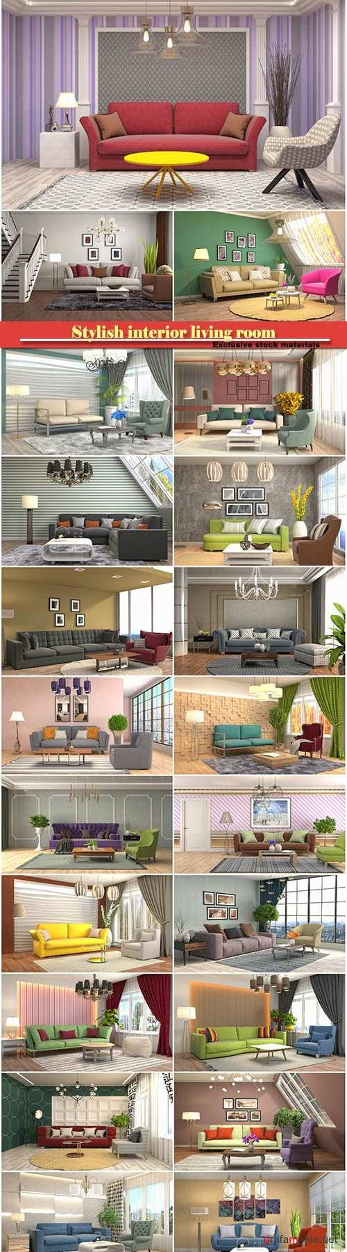 Stylish interior living room, 3d illustration