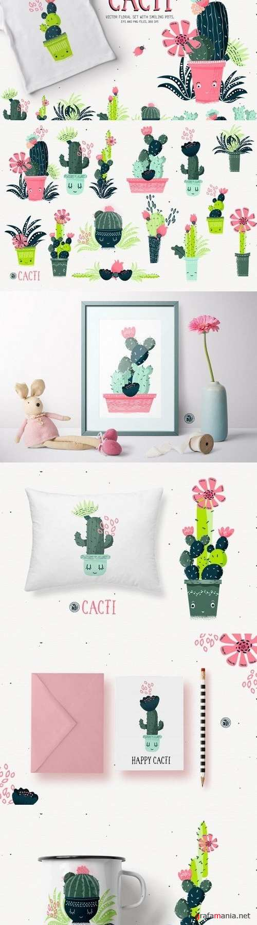 Cacti With Smiling Pots 1761126