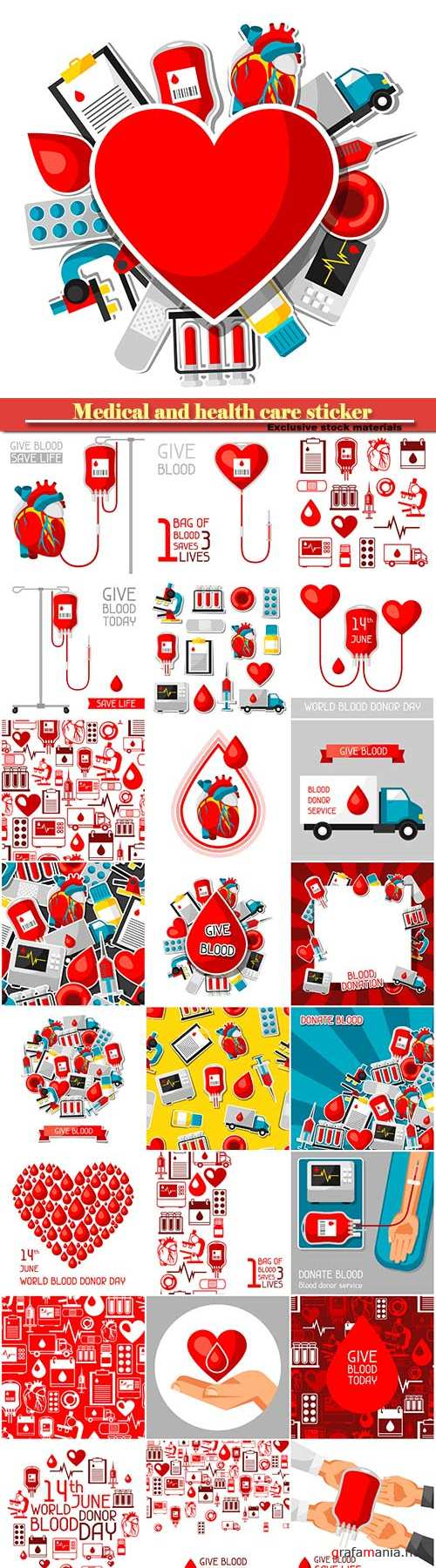 Medical and health care sticker objects, blood donation items