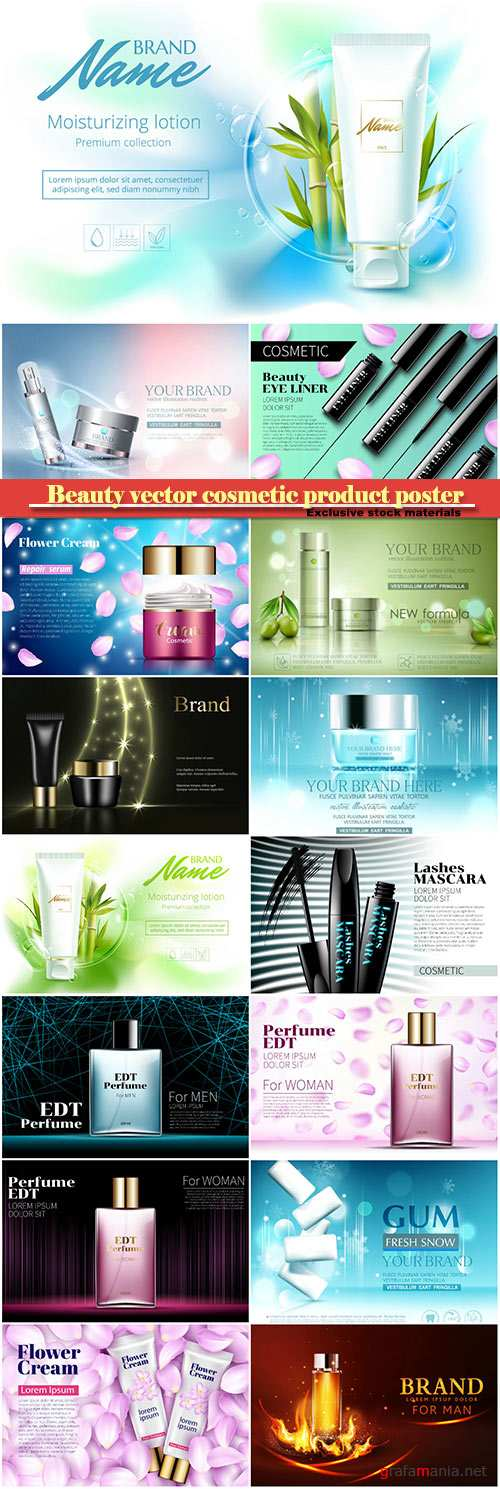 Beauty vector cosmetic product poster # 17