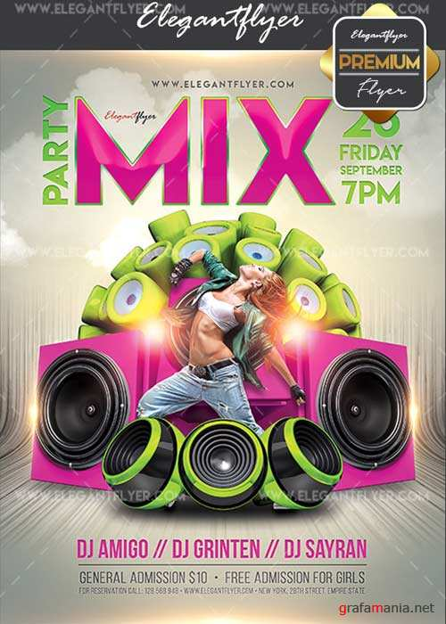 Mix Party V7 Flyer PSD Template + Facebook Cover
