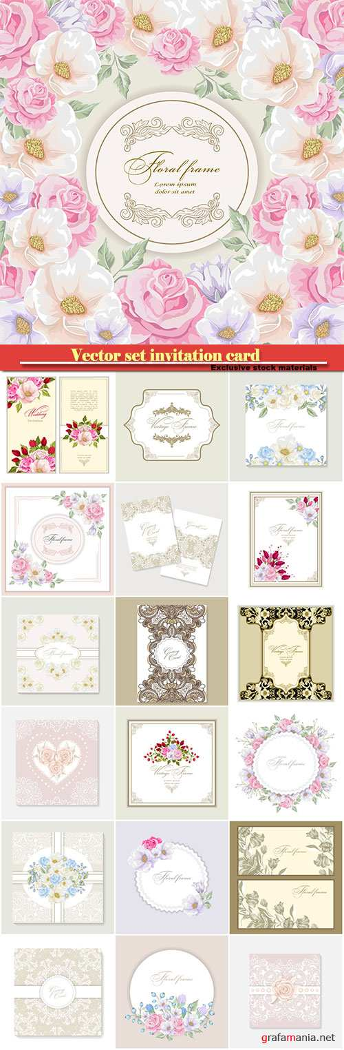Vector set invitation card with lace decoration for wedding, birthday, Valentine's day