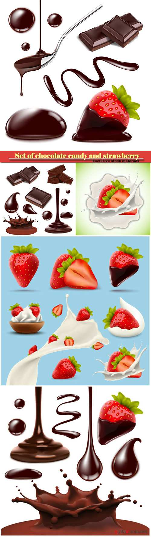 Set of chocolate candy and strawberry in vector
