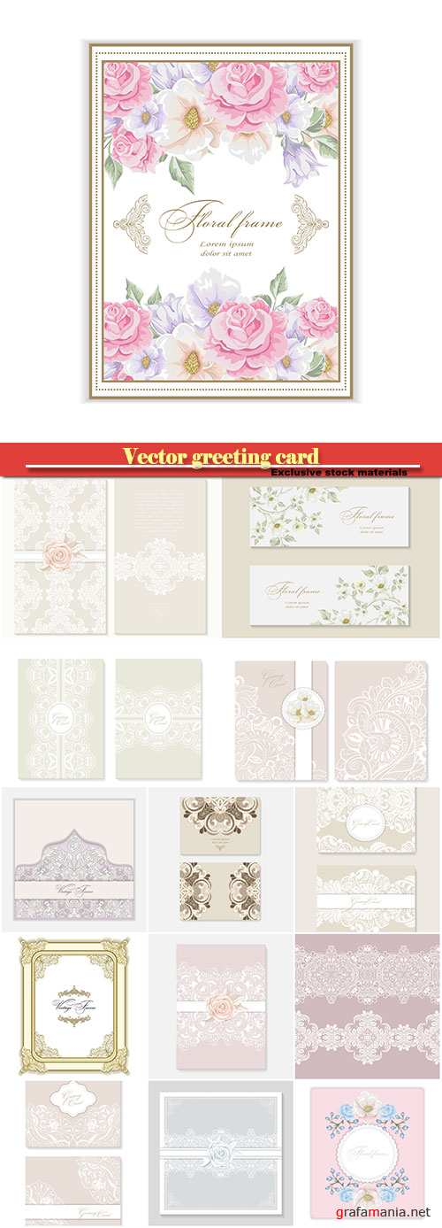 Vector greeting card with flowers for wedding, birthday and other holidays